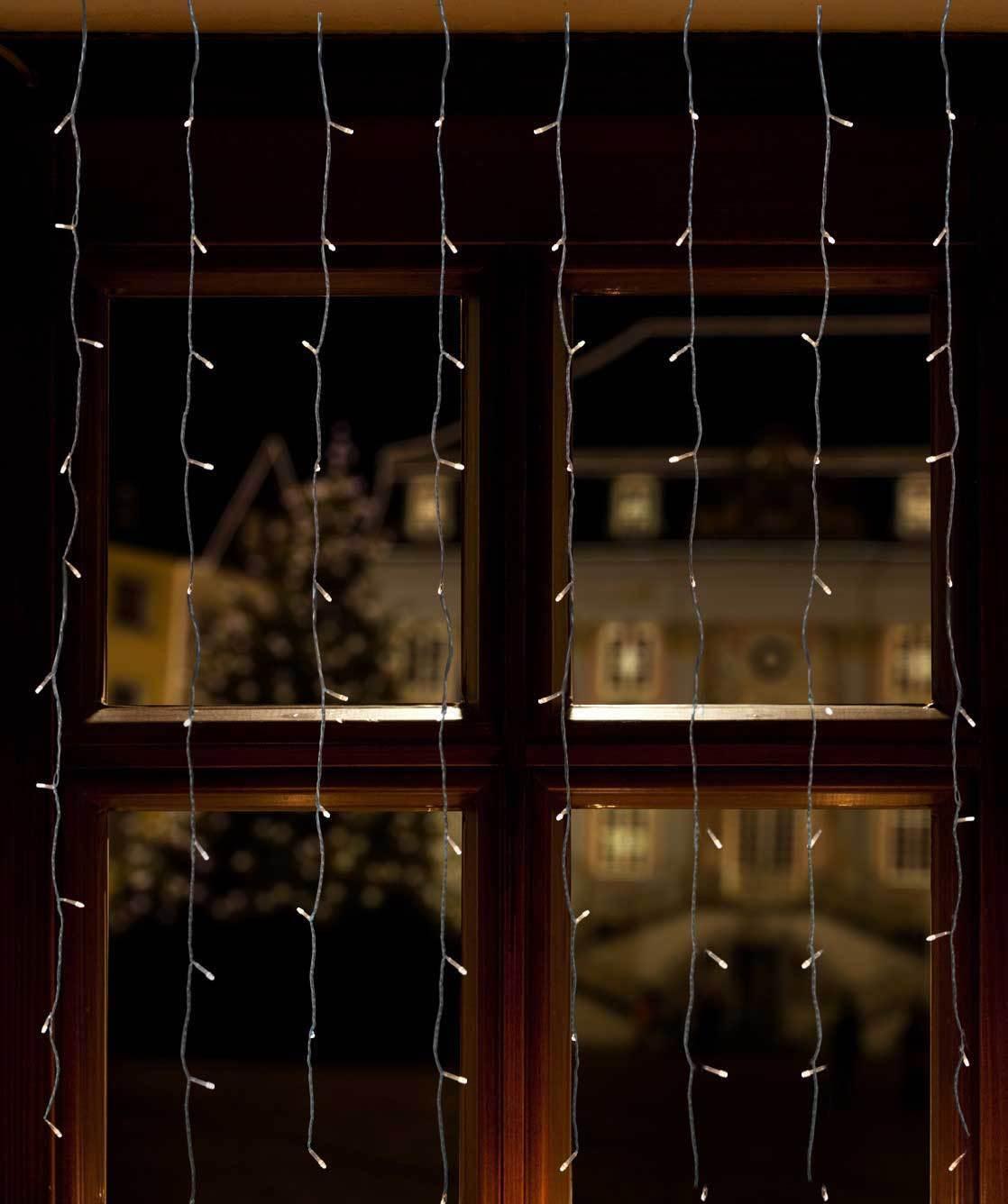 LED Lichtervorhang warmweiße LEDs für Fenster o. Türen 1,3x1,3m o. 1,3x2m Innen