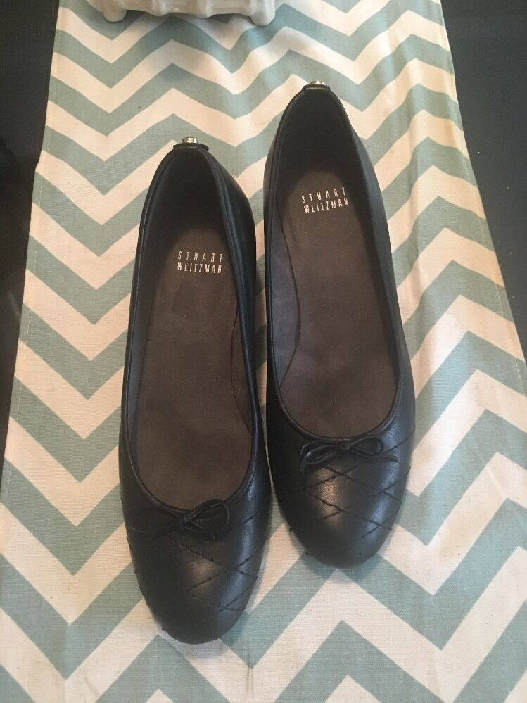 Stuart Weitzman Wedge 7.5 Black Quilted Toe Ballet Style  450