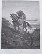 Der barmherzige Samariter von Gustave Dore - Holzstich-Tafel aus ca. 1870