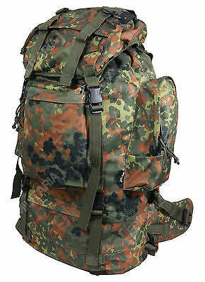 Flecktarn Camo 75L ARMY RANGER RUCKSACK - Military Style Camping Hiking Backpack