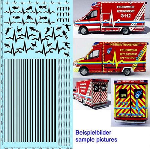 Rettungsdienste Feuerwehr DE 05 Emergency services schwarz black 1:87 Decal