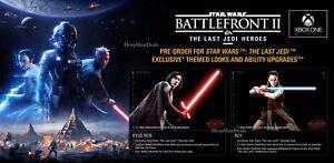 Details about Star Wars Battlefront 2 (XB1) Pre-Order DLC - Last Jedi  Heroes Bonus Content!
