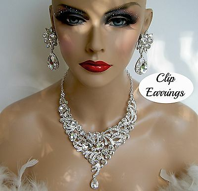 DRAG QUEEN SILVER RHINESTONE NECKLACE CLIP EARRINGS PAGEANT BRIDAL STAGE COSTUME