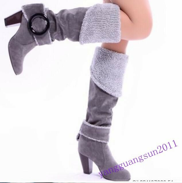 New Fashion Womens Retro Winter Buckle Suede High Heel Over Knee Boots shoes Sz