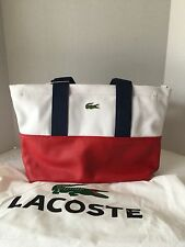 New Lacoste Red/White/Blue Small Canvas Shopping Bag