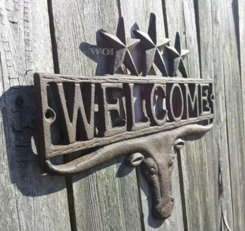 Metal Work Rustic Bull Head Cow Ranch Gate Welcome Plaque Cattle Sign Worn Rust