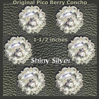 "6-1/"" Silver Hand Engraved Western Pico Conchos"