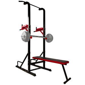 Détails Sur Banc De Musculation Multifonctionel Banc Muscu Station Dips Et Barre De Traction