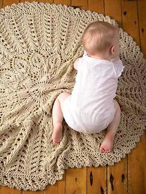Circular Leaf Flower Little Branches Baby Blanket Chunky Wool