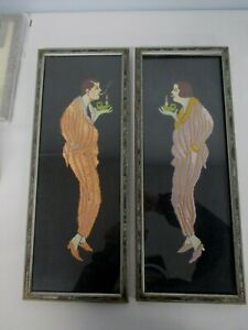 ANTIQUE-FRAMED-ART-DECO-EMBROIDERED-HAND-PAINTED-MAN-amp-WOMAN-LIGHTING-CIGARETTE