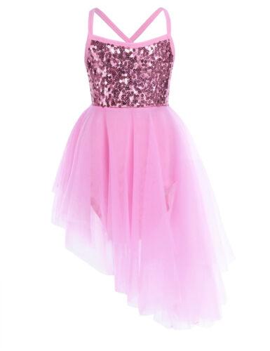 Girls Kids Lyrical Dance Ballet Dress Outfit Gymnastics Costume Crop Tops Skirt