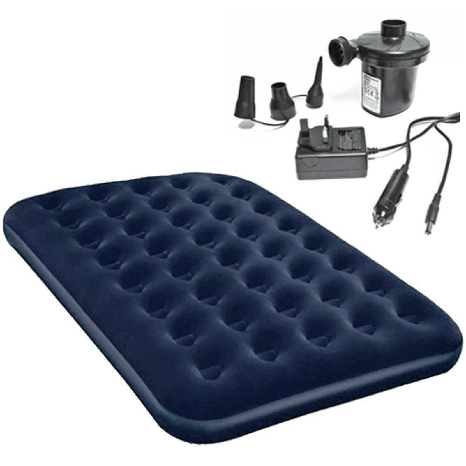Double Single AirBed With Electric AirPump Air Bed Mattress Pump Inflator - blueE