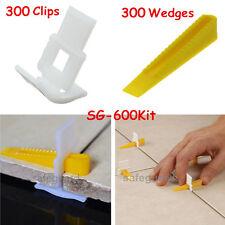 600 Tile Leveling System - 300 Clips + 300 Wedges Tile Leveler Spacers Lippage