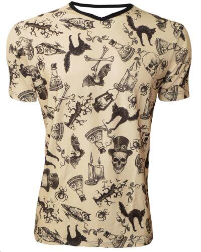 Steampunk Skulls Bones Vintage V-Neck T-Shirt Top Halloween Cats Bats Owl