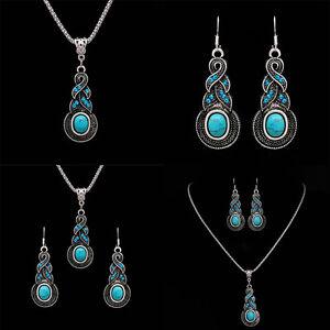 Mode-Damen-Turquoise-Schmuckset-Halskette-Ohrringe-Kristall-Strass-Hochzeit