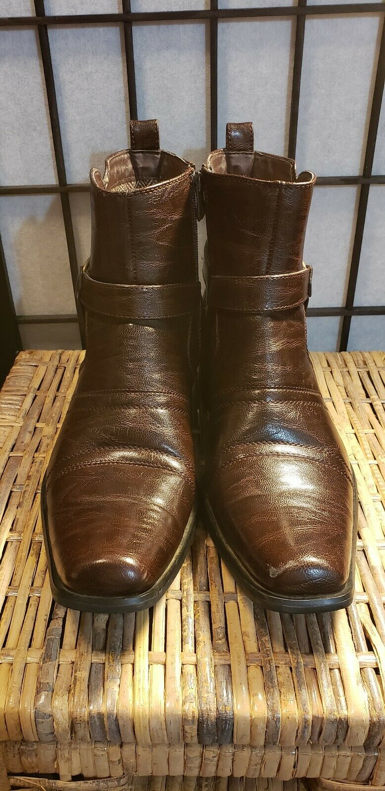 Men's Dress Boots Bonafini Italian Style With Zipper (Brown) , Size 7