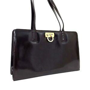 ecf4460d7956 Image is loading Authentic-Salvatore-Ferragamo -Brown-Leather-Gancini-Shoulder-Bag-