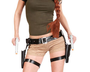 Details About Lara Croft Style Tomb Raider Twin Guns Holster Fancy Dress Costume Accessory
