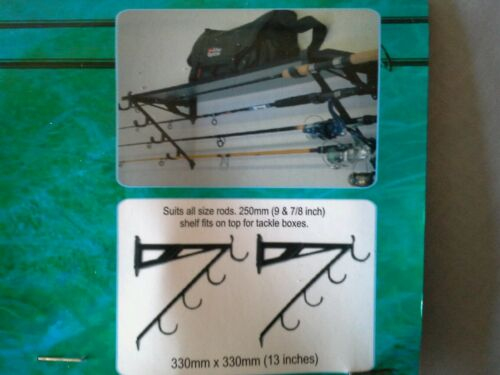 Fishing Pole Holder Rod Rack Durable Lightweight Wall Mount  4 Rods Storage NEW