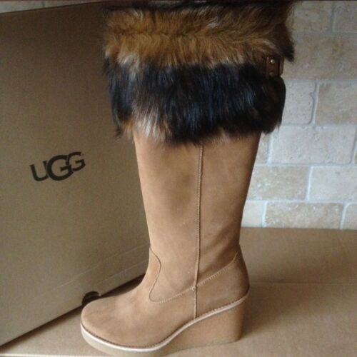 226a1db9ed3 UGG VALBERG TOSCANA Cuff Chestnut Suede Wedge Tall Boots Size Us 11 Womens