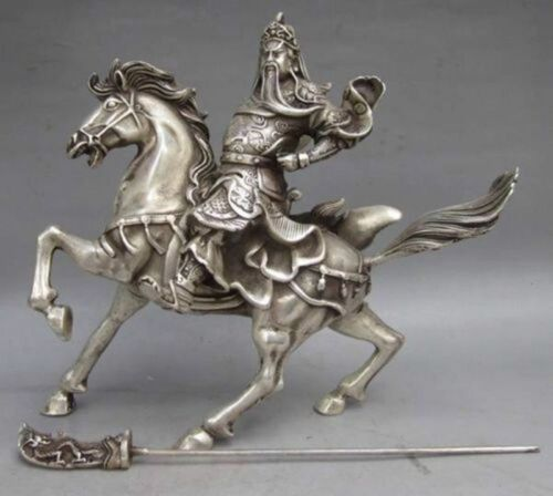 Chinese Collectable Tibet Silver Warrior God Guan Yu /& Horse Statue