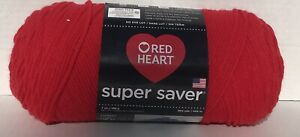 NEW-red-Heart-Super-Saver-Yarn-1-7-OZ-Skein-hot-Red-Dye-Lot-DISCONTINUED