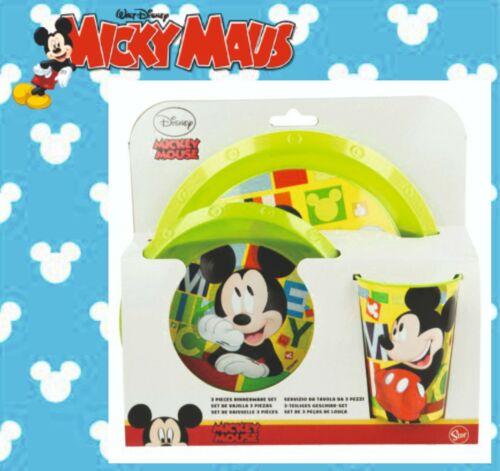 Micky Maus Mouse Frühstücksset Geschirr Teller Müslischale Becher