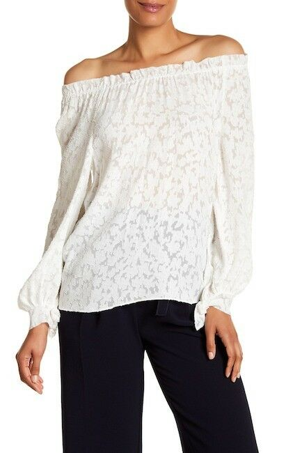 NEW Rebecca Taylor Long Sleeve Knit Blouse in Snow - Größe 10  T676