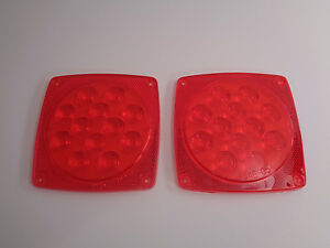 (2) Replacement Lenses For 12 Diode LED Square Trailer Tail Lights Brake Boat