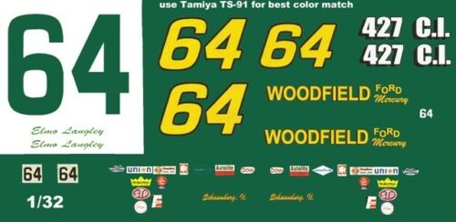 #64 ELMO LANGLEY Woodfield Ford 1// Scale Waterslide Decals