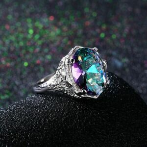 Genuine-Rainbow-Fire-Topaz-Mystic-Ring-Solid-Fine-Jewelry-925-Sterling-Silver