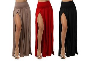 PLUS SIZE SEXY HIGH WAIST DOUBLE SLIT FRONT RAYON JERSEY LONG MAXI ...