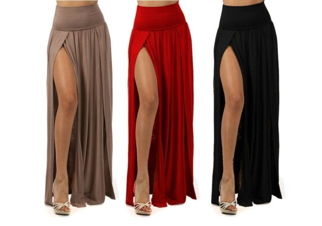 PLUS SIZE SEXY HIGH WAIST DOUBLE SLIT FRONT RAYON JERSEY LONG MAXI SKIRT 1X 2X 3