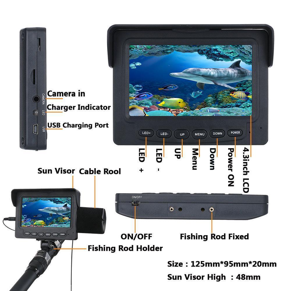 Monitor 4.3  LCD  1W IR LED 30M 1000TVL Cámara Subacuática Pesca Buscador de los pescados  calidad oficial