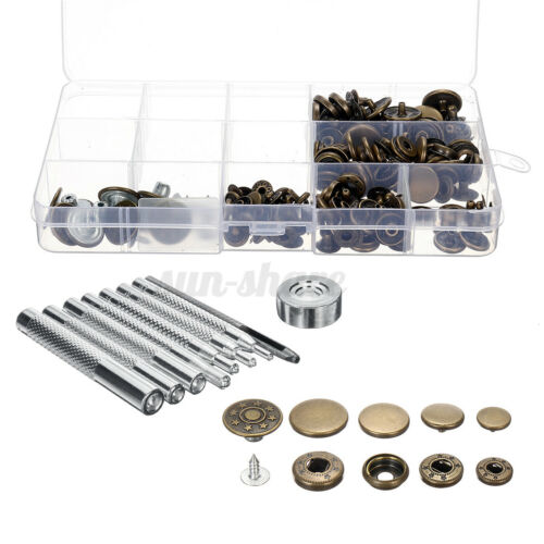 50 Sets 4 Sizes Snap Fastener Kit Buttons Press Studs Rivets Sew On Leather Bag