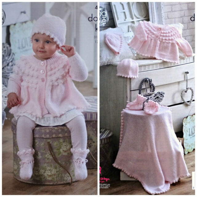 King Cole Baby Double Knitting Pattern for Matinee Coat Jacket Cardigan Bonnet Hat /& Bootees 4690 by King Cole