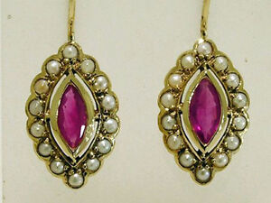 CE243-Elegant-Genuine-9ct-GOLD-NATURAL-Ruby-amp-Pearl-Cluster-Drop-Earrings