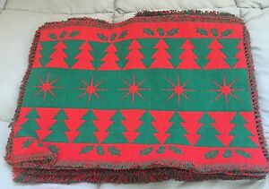 Christmas Tree Holly And Star Placemats And Table Runner New Free