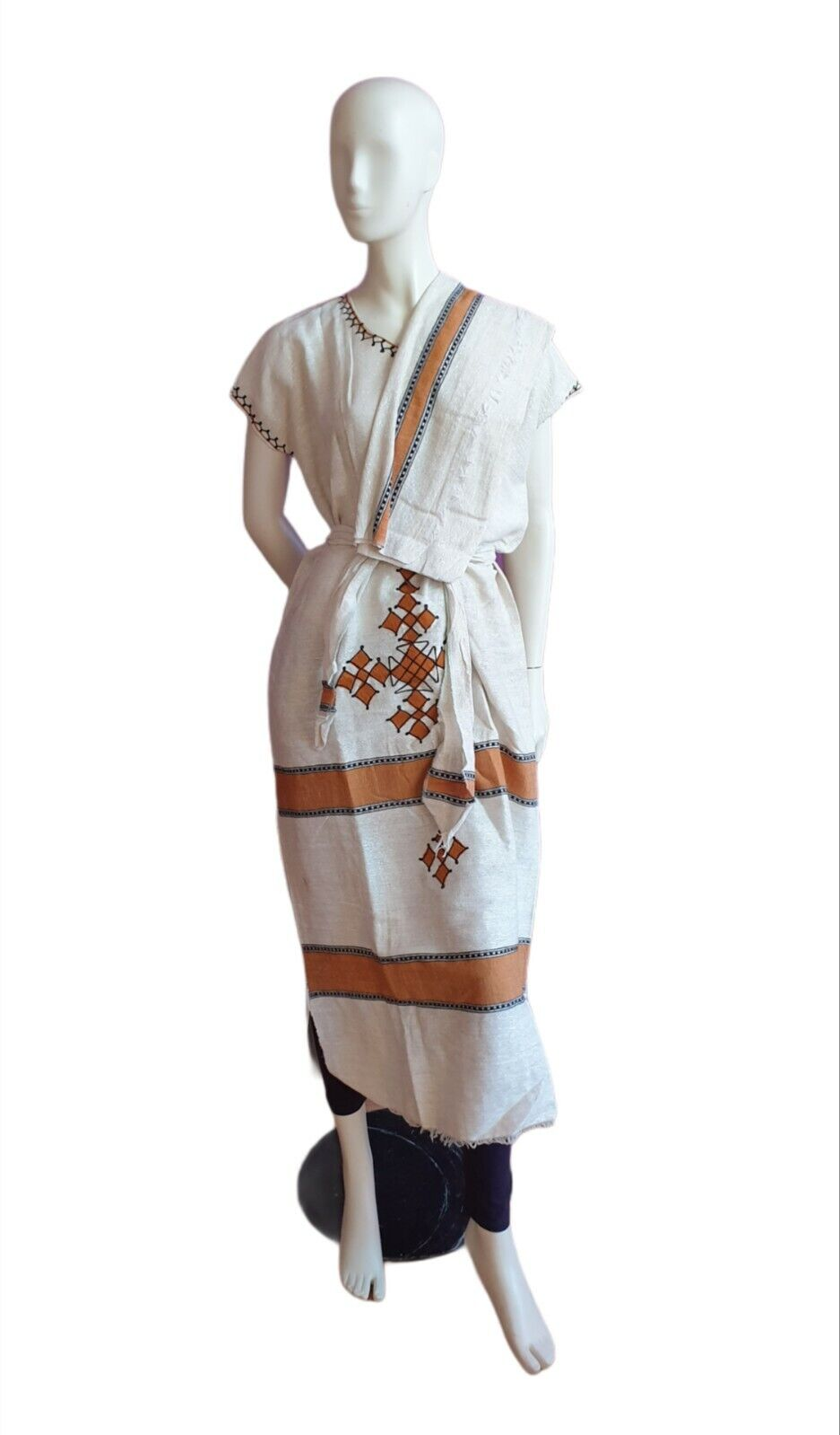 Ethiopian/Eritrean Hand woven & embroidered 100% Cotton dress Ethiopia 3 Pieces.
