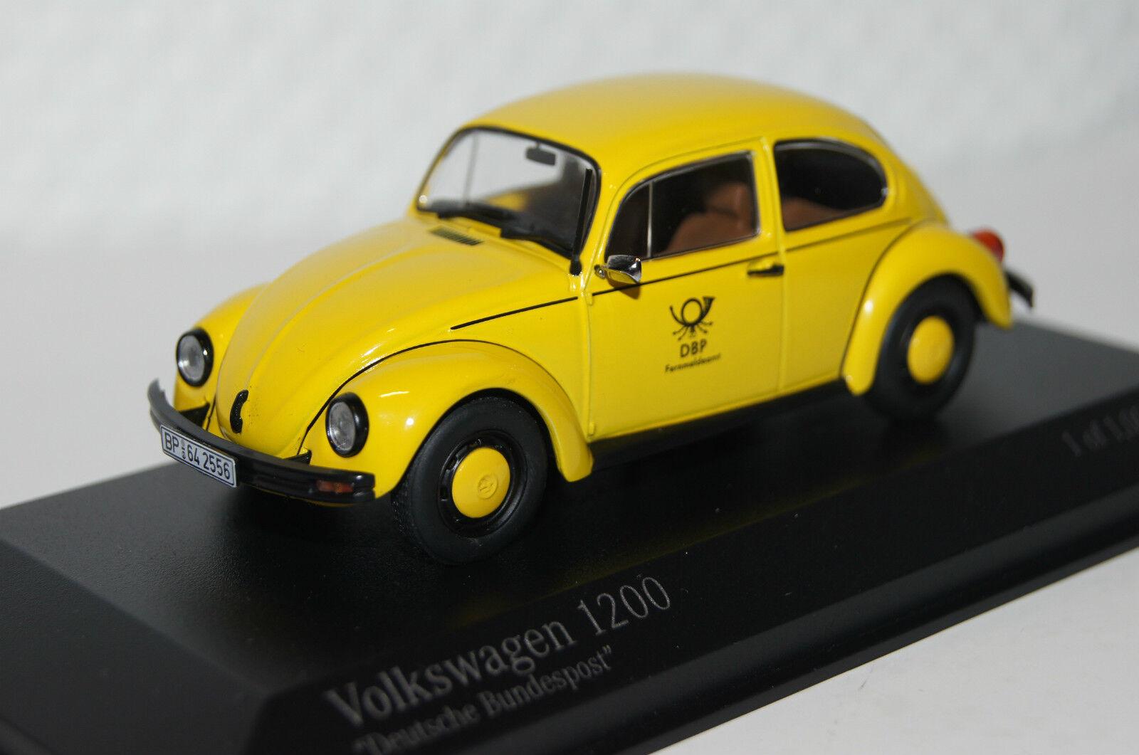 Vw beetle 1200  Deutsche post  1983 jaune 1 43 MINICHAMPS NEUF & OVP 400057197