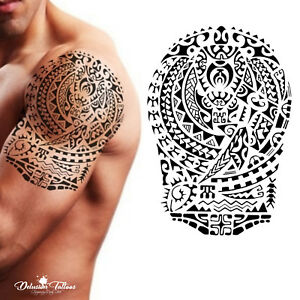 Tribal Temporary Tattoo - Polynesian Turtle Shoulder Maori Black Waterproof Mens