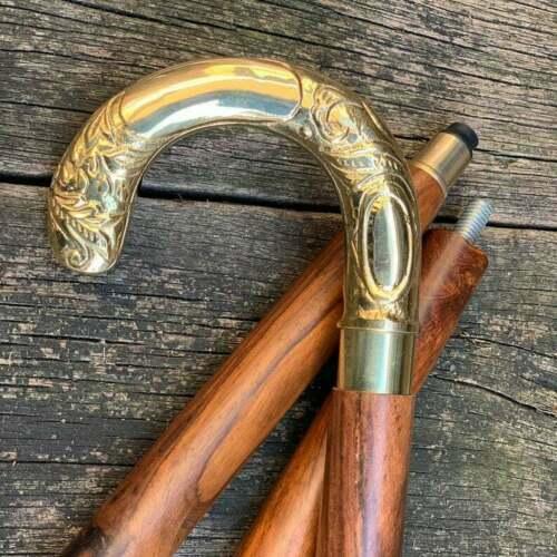 Beautiful Design Victorain Chrome Handle Full Brass Walking Stick Vintage Canes