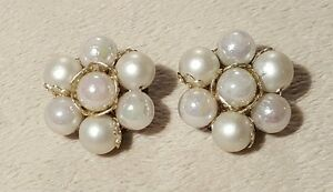 Vintage-iridescent-and-pearl-bead-cluster-clip-on-earrings-retro-Japan