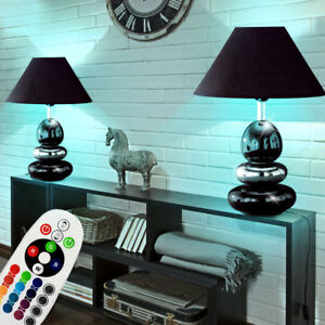 2 Set Led Ceramica Tavolo Lampade Camera da Letto Luci RGB ...