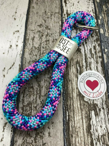 Schlüsselanhänger aus 10mm Segelseil mit frei wählbarem Motivstück #maritim