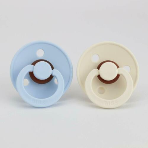 BIBS Pacifier Size 1 or 2 Dummy2 PackBaby Blue Ivory