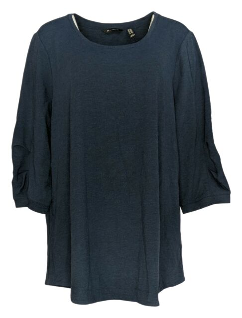 H by Halston Women's Plus Sz Top 2X Scoop-Neck Tunic W/ 3/4 Sleeves Blue A352995