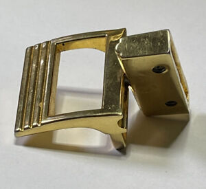 Vintage Belt Buckle Stainless Metal Reversible Replacement Gold Tone