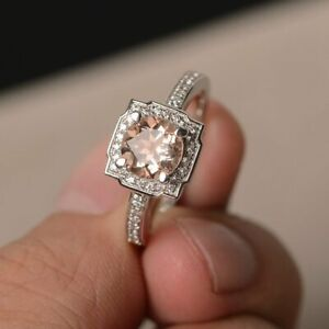 2Ct-Round-Cut-Peach-Morganite-Halo-Engagement-Ring-14K-White-Gold-Over