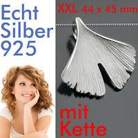 Damen Ginkoblatt Ginko Blatt Anhänger Mit Collier Kette Echt Silber 925 Gr. Xxl